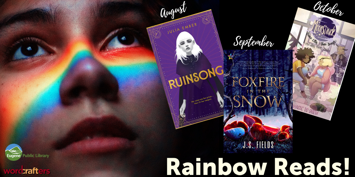 Young person's face with rainbow facepaint across it, next to Images of book covers.